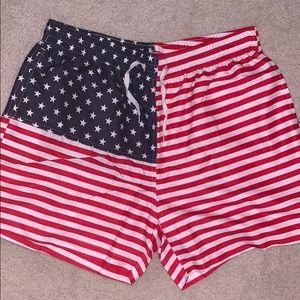 """M-PEX Men's 5.5"""" Inseam America Flag Swim Trunks"""